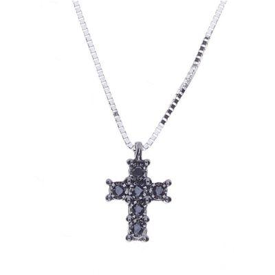 Girocollo in oro bianco e croce con diamanti black