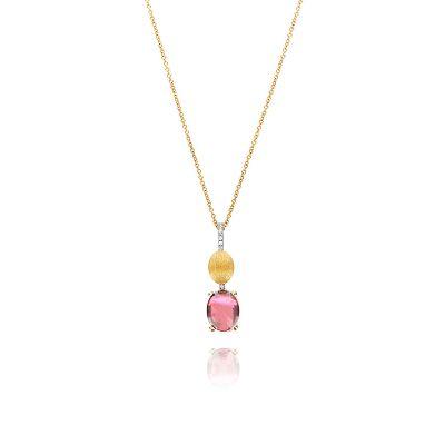 girocollo in oro giallo 18 kt diamanti e tormalina rosa