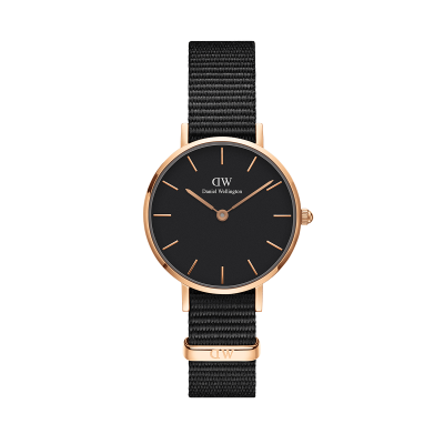 Daniel Wellington Petite Cornwall 28 Rose Gold Black