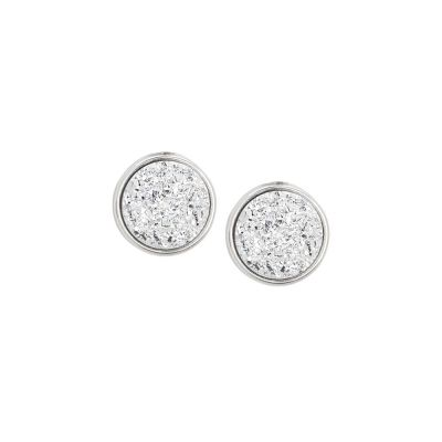 Stud earrings with white druzy stone