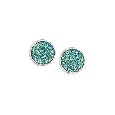 Stud earrings with druzy stone green water