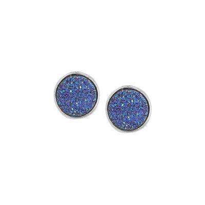 Stud earrings with purple stone druzy