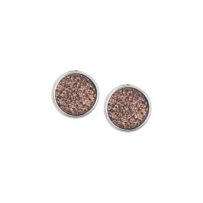 Lobe earrings with bronze colored stone druzy