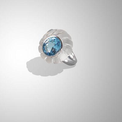 anello con Cristallo di e Topazio azzurro