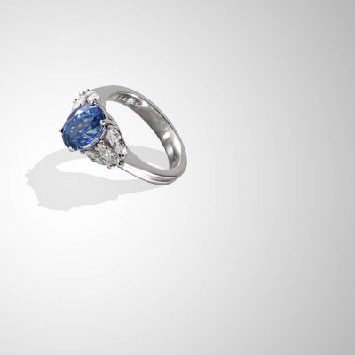 Anello con Zaffiro blu ceylon