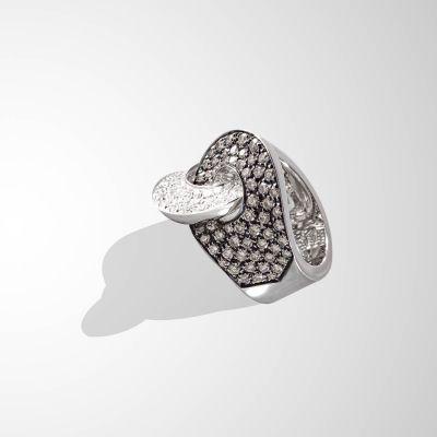 Anello contrariè con Diamanti brown e incolore