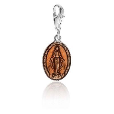 Charm Madonnina Miracolosa in Argento 925 e Smalto Arancione