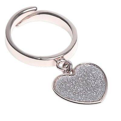 Adjustable ring with heart glitterato