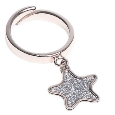 Adjustable ring with glitter star