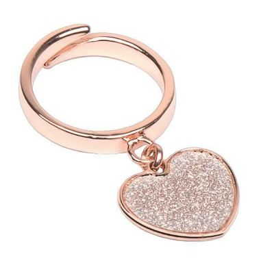 Adjustable Ring Gold plated pink with heart glitterato