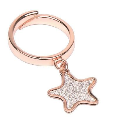 Adjustable Ring Gold plated pink with glitter star