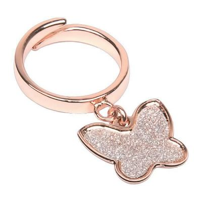 Adjustable Ring Gold plated pink with glitter throttle