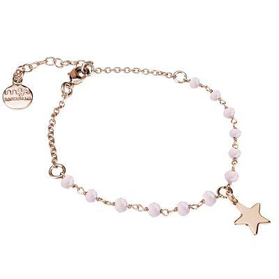 Bracciale rosato con cristalli rosa milk e stella