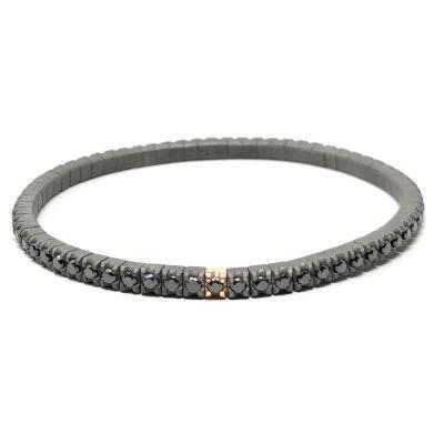 Mano Jewels Bracciale Tennis Elastico in Titanio Oro Rosa 18kt e Diamanti Black
