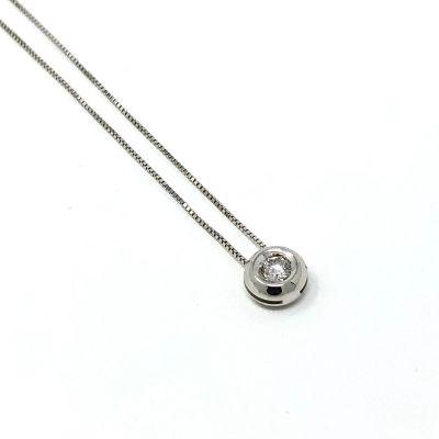 Quaglia Collana Punto Luce H075 Oro Bianco e Diamante ct 0.06 F VS2