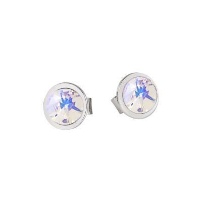 Earrings in the lobe with Swarovski crystal powder blue
