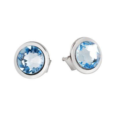 Earrings in the lobe with Swarovski crystal aquamarine