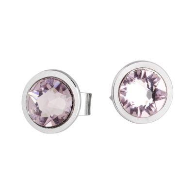 Earrings in the lobe with Swarovski crystal light ametist