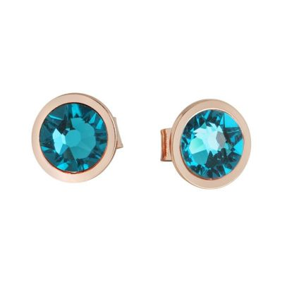 Earrings in the lobe with Swarovski crystal blue zircon
