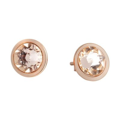 Earrings in the lobe with Swarovski crystal light peach