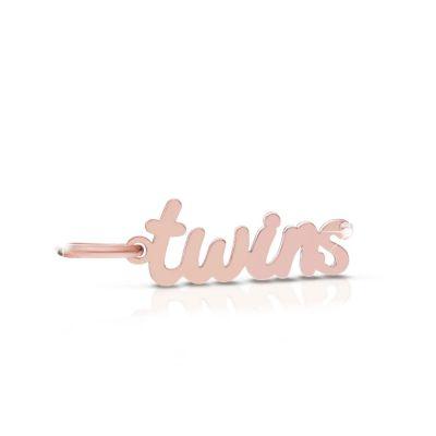 Ciondolo Lock Your Love con scritta twins in oro rosa e argento