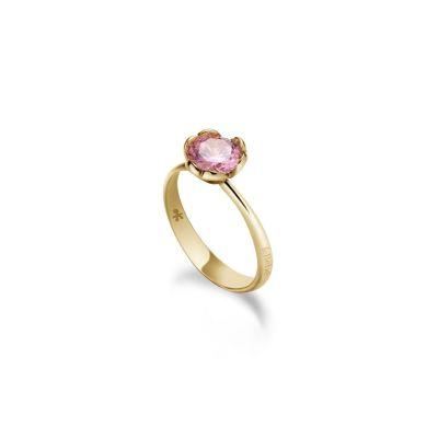 Le Bebè Lovely Anello Oro Giallo e Quarzo Rosa di Sintesi LBB600