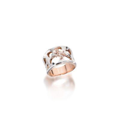 Anello Divini oro bianco e bimbo oro rosa e brillanti