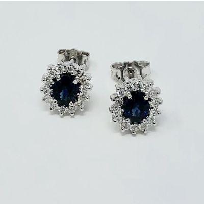 Orecchini con Diamanti e Zaffiri ct 1.06