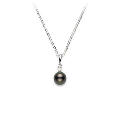 Mikimoto pendente perla Black mm.8x8.5 Diamante