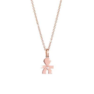 Ciondolo Briciole bimbo oro rosa e diamante