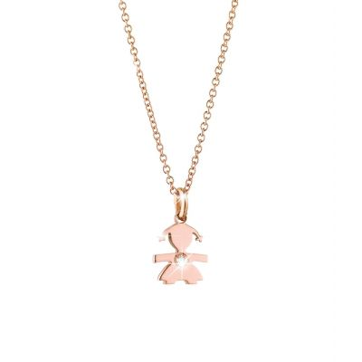 Ciondolo Briciole bimba oro rosa e diamante