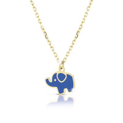 Collana in oro giallo con elefante smaltato