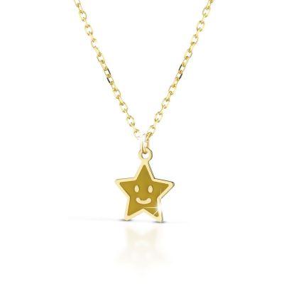 Collana in oro giallo con stella smaltata