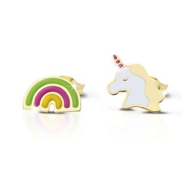 Orecchino in oro giallo con unicorno e arcobaleno con smalto colorato