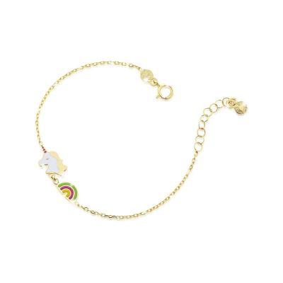 Bracciale in oro giallo con unicorno e arcobaleno con smalto colorato