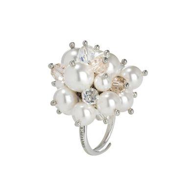 Anello con bouquet di cristalli Swarovski aurora boreale e perle Swarovski white