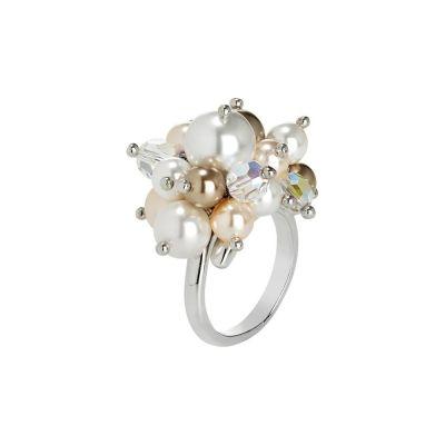 Anello con bouquet di cristalli e perle Swarovski aurora boreale, bronze, peach e white