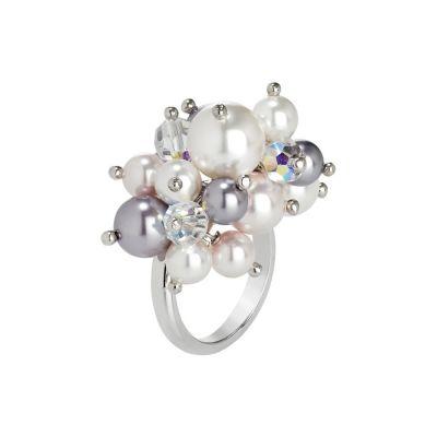 Anello con bouquet di cristalli e perle Swarovski aurora boreale, mauve, rosaline e white
