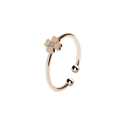 Ring Pink color with flower and zircon nestled