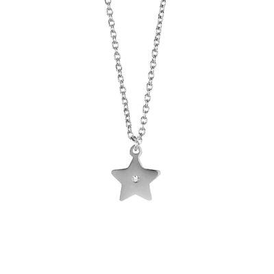 Collana in acciaio con stella pendente e strass