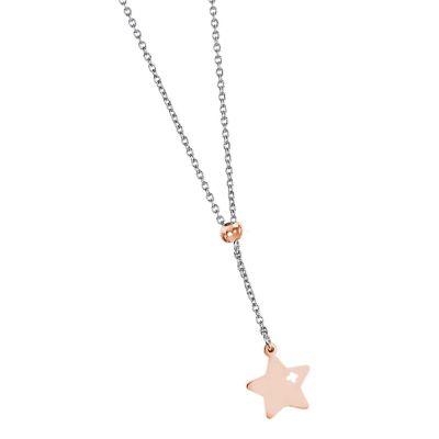 Collana con stella rosata traforata pendente