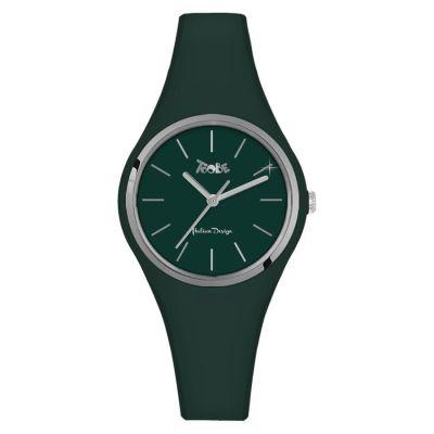 Orologio in silicone anallergico verde scuro con ghiera silver