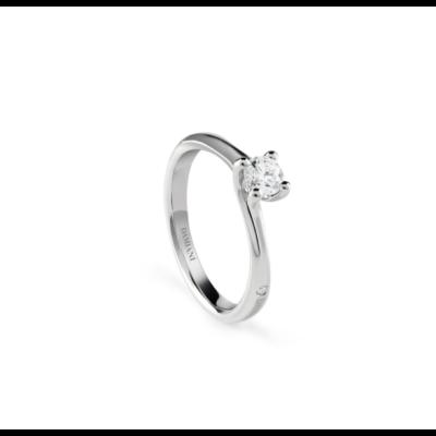 Damiani Anello di Fidanzamento Amami in Oro Bianco e Diamante ct 0.20