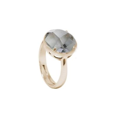 Plated ring yellow gold with crystal fumè