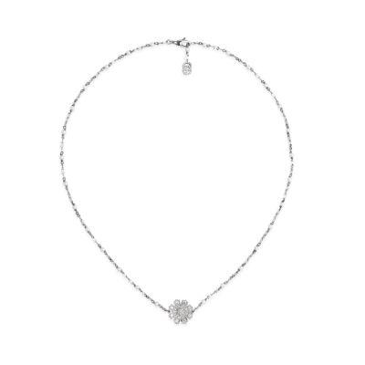 Collana con fiore, diamanti e perle