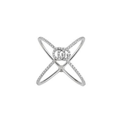 Anello a forma di X GG Running con diamanti