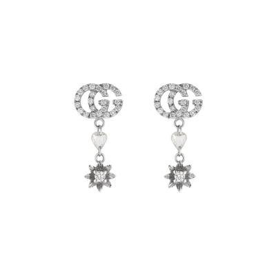 Orecchini fiore e Doppia G con diamanti