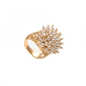 Stylish ring  with white swarovski pearls