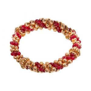 Bracelet with ruby ​​colored agate