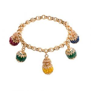 Bracelet with charms in agate multicolor
